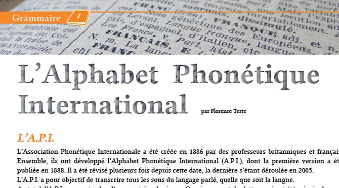 L'Alphabet  Phonétique  International