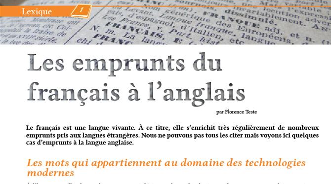 Les emprunts du  français à l'anglais